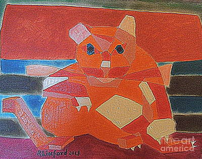 Fat Cat On A Hot Chaise Lounge Original by Richard W Linford