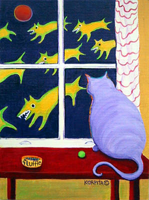 Funny Dog Painting - Fat Inside Cat - Why Fluffie Can Not Possibly Go Out by Rebecca Korpita