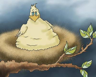 Chicken Digital Art - Fat Chicken In Tree by Hank Nunes