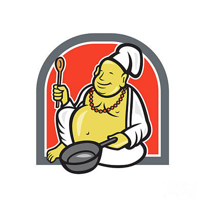 Fries Digital Art - Fat Happy Buddha Chef Cook Cartoon by Aloysius Patrimonio