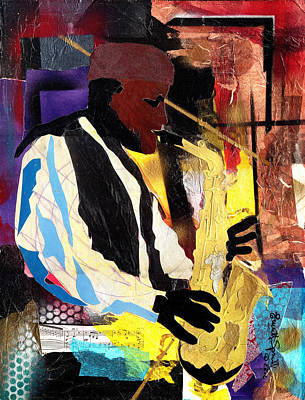 Wynton Marsalis Mixed Media - Fathead Newman by Everett Spruill