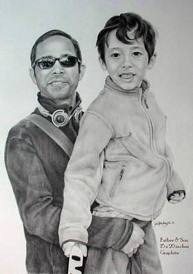 Hong Kong Drawing - Father And Child by Janet Pancho Gupta