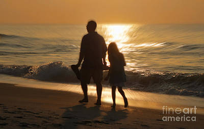 Orange Photograph - Father And Daughter by Jeff Breiman