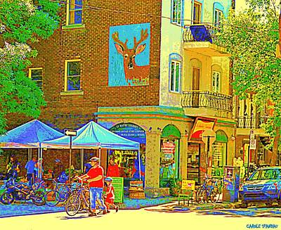 Fruit Stand Painting - Father And Son Bike By Le Maitre Gourmet Marche Laurier Street Scene Art Of Montreal Carole Spandau by Carole Spandau