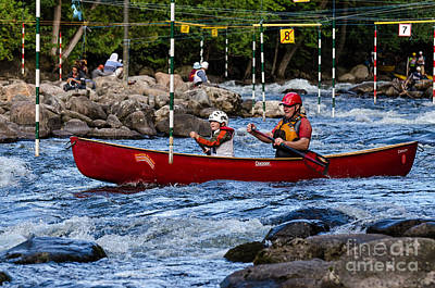 Canoe Photograph - Father And Son In A Red Canoe by Les Palenik