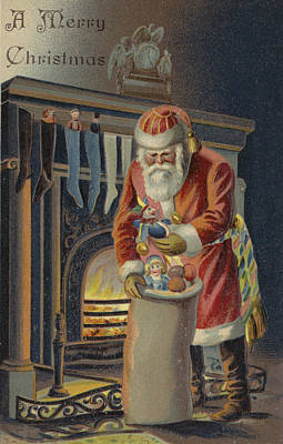 Father Christmas Filling Children's Stockings Print by English School