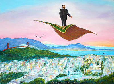 Ignatius Painting - Father Flies The San Francisco Sky by Asha Carolyn Young