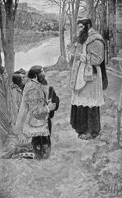 Father Hennepin Celebrating Mass, Illustration From La Salle And The Discovery Of The Great West Print by Howard Pyle