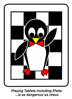 Digital Art - Father Penguin Tells You That Playing Tablets Including Ipads Is As Dangerous As Chess  by Asbjorn Lonvig