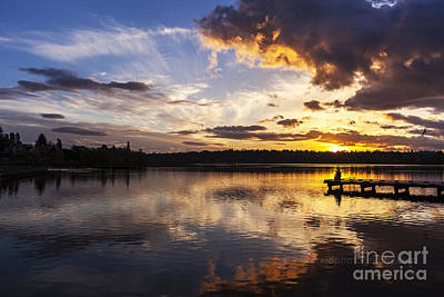 Father Son And The Lake Print by Mike Reid