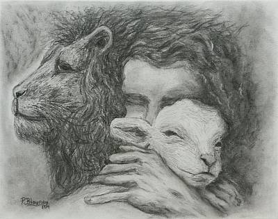 Lion And The Lamb Drawing - Father Spirit Son by Pamela Blayney