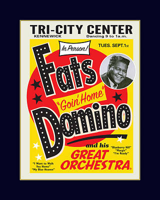 Graphic Digital Art Painting - Fats Domino by Gary Grayson