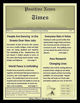 Faux Positive Newspaper Print by Bobbee Rickard