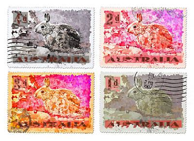 Faux Poste Bunnies Print by Carol Leigh