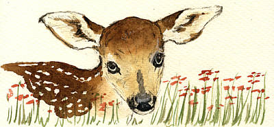 Fawn In The Flowers Print by Juan  Bosco