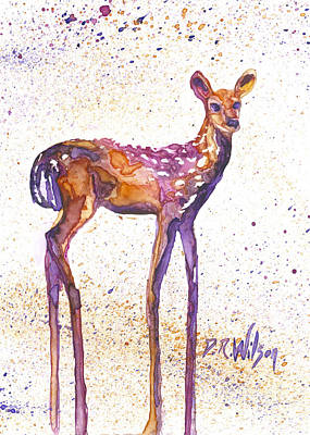 Watercolor Painting - Fawn Rising by D Renee Wilson