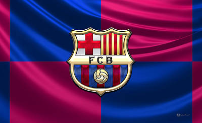 Fc Barcelona - 3d Badge Over Flag Print by Serge Averbukh