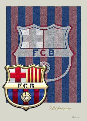 Fc Barcelona Logo And 3d Badge Print by Serge Averbukh
