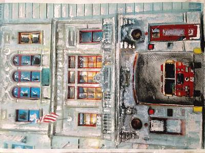 Of Firehouse Painting - Fdny Engine Company Near Guggenhiem by Jeff Curry