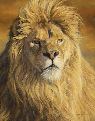 Lions Painting - Fearless - Detail by Lucie Bilodeau