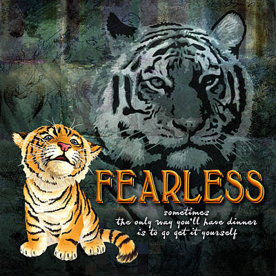 Tiger Digital Art - Fearless by Evie Cook