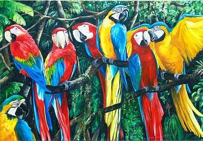 Blue And Gold Macaw Painting - Featherd  Bff by Karin  Dawn Kelshall- Best