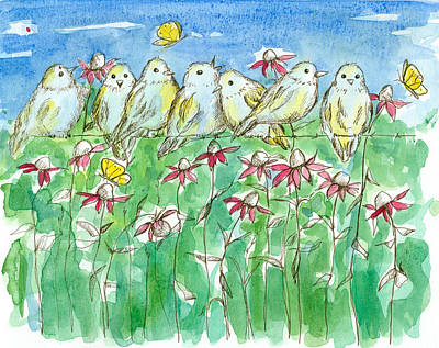 Bird On A Wire Drawing - Feathered Friends by Cathie Richardson