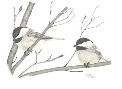 Chickadee Drawing - Feathered Friends by Patricia Hiltz
