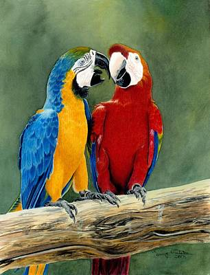 Blue And Gold Macaw Painting - Feathered Friends by Tonya Butcher