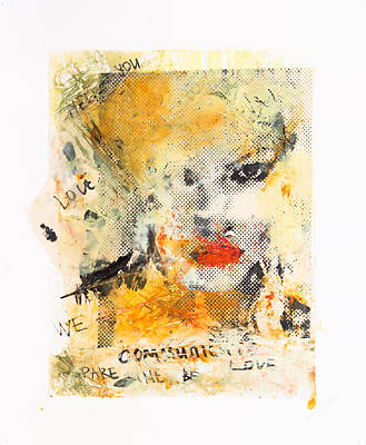 Limited Edition Mixed Media - Feathers And Bloody Diamonds Selfportrait by Maria  Lankina