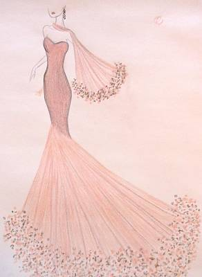 Ball Gown Drawing - Feathers And Frills by Christine Corretti