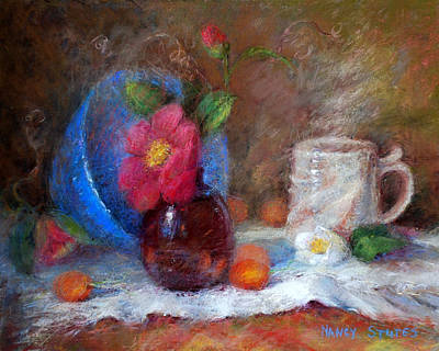 Red Flower Painting - Featured Blue Bowl   by Nancy Stutes