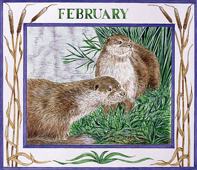 Otter Photograph - February Wc On Paper by Catherine Bradbury