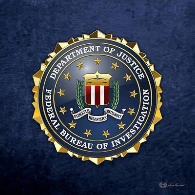 Federal Bureau Of Investigation - F B I Emblem On Blue Velvet Print by Serge Averbukh