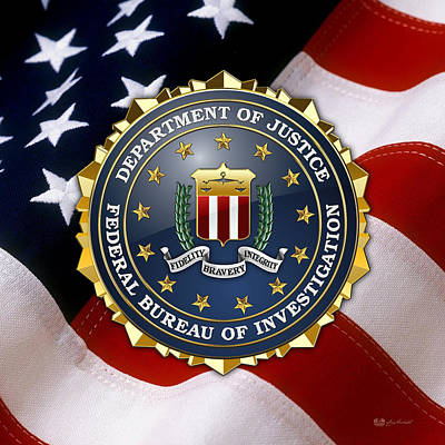 Federal Bureau Of Investigation - F B I Emblem Over American Flag Print by Serge Averbukh