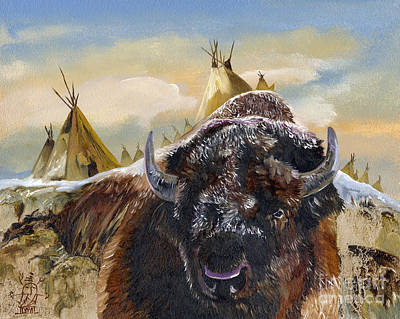 Bison Mixed Media - Feed The Fire by J W Baker