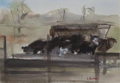Feeding Cows Print by Lynne Bolwell