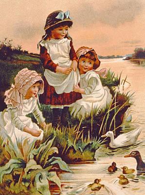 Feeding Drawing - Feeding Ducks by Edith S Berkeley