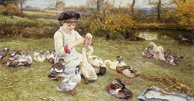 Feeding Ducks Print by Edward Killingworth Johnson