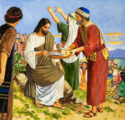 Giving Painting - Feeding The Five Thousand by Clive Uptton