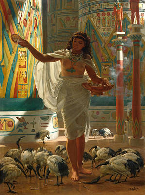 Ibis Painting - Feeding The Sacred Ibis In The Halls Of Karnac by Edward John Poynter