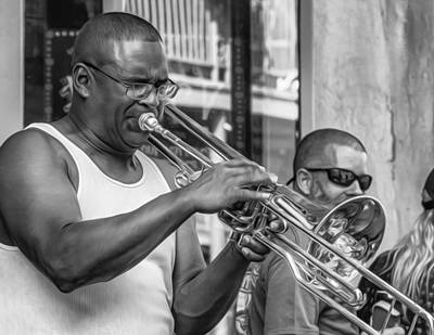 Feel It - New Orleans Jazz Bw  Print by Steve Harrington