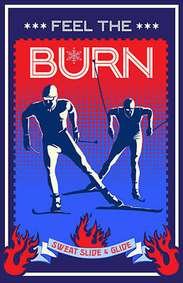 Cross-country Skiing Painting - Feel The Burn Xski by Sassan Filsoof