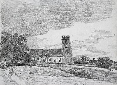 Crayons Tree Drawing - Feering Church, 1814 by John Constable