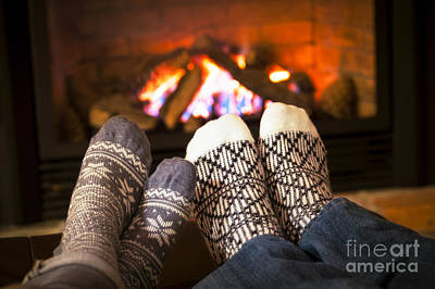 Togetherness Photograph - Feet Warming By Fireplace by Elena Elisseeva