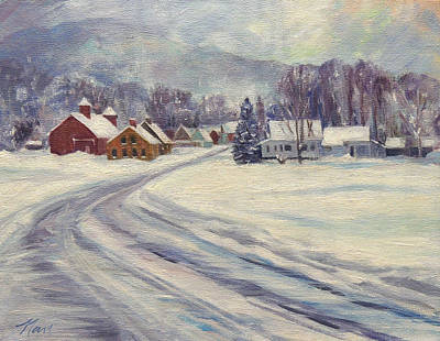 Felchville Village In The Snow Print by Nancy Griswold