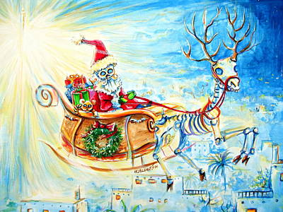 Santa Claus Painting - Feliz Navidad Merry Christmas by Heather Calderon