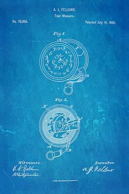 Seamstress Photograph - Fellows Tape Measure Patent Art 1868 Blueprint by Ian Monk