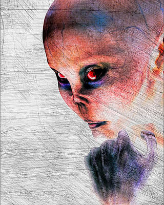 Paranormal Digital Art - Female Alien Portrait by Bob Orsillo