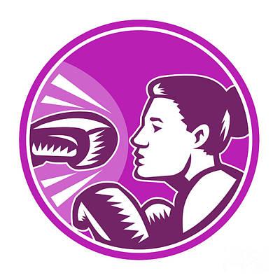 Boxer Digital Art - Female Boxer Punch Retro by Aloysius Patrimonio